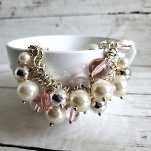 Chico's Silver Chain Bracelet Pearls & Pink Stones